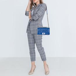 Chanel Blue Quilted Patent Leather Medium Plexiglass Boy Flap Bag 409118