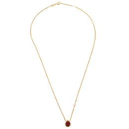Boucheron Serpent Boheme Diamond Carnelian 18K Yellow Gold Pendant Necklace XS 408459