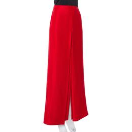 Ch Carolina Herrera Red Silk Satin Paneled Maxi Skirt M 408917