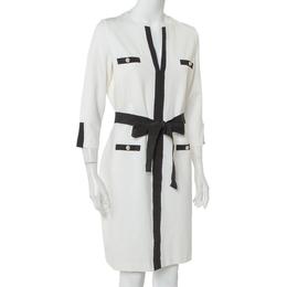 Ch Carolina Herrera White Knit Contrast Trim Detail Belted Midi Dress L 408997