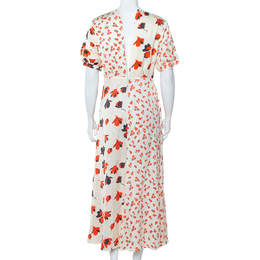 Self-Portrait Cream Floral Printed Silk Satin Midi Dress M 408982