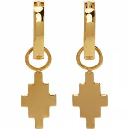 Marcelo Burlon County Of Milan Gold Cross Pendant Earrings CMOD023S21MET0017600