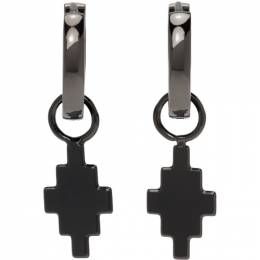 Marcelo Burlon County Of Milan Gunmetal Cross Pendant Earrings CMOD023S21MET0011000