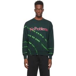 Aries Black and Green Tie-Dye No Problemo Sweatshirt SRAR20222