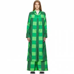 Sunnei Green Check Long Coat SN1PXJ02CP-TQ040.580