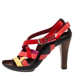 Casadei Multicolor Patent Leather Strappy Ankle Strap Sandals Size 40 411846