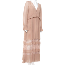 Self-Portrait Nude Pink Chiffon Pleated Lace Trim Detail Maxi Dress M 411568