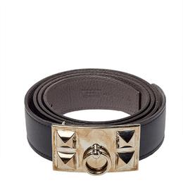 Hermes Black Swift and Togo Leather Reversible Collier De Chien Buckle Belt 95CM 411565