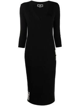 Elisabetta Franchi приталенное платье миди с логотипом AM90S11E2