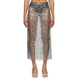 Christopher Esber Silver and Black Sequined Column Skirt SS21SK28
