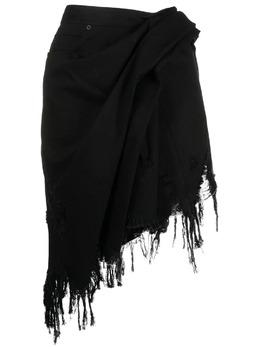 Alexander Wang юбка мини асимметричного кроя с бахромой 1WC2215179