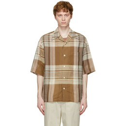 Lemaire Brown Cotton and Linen Short Sleeve Shirt M 211 SH160 LF571
