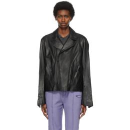 Ader Error Black Leather Hamon Jacket BKASSJK02BK