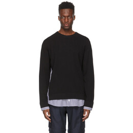Juun.J Black Wool Woven Patched Sweater JC1151P03
