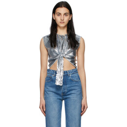 Paco Rabanne Silver Sequin Cropped Blouse 21EJTO325CU0008