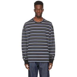 Juun.J Black Stripe Embroidered Long Sleeve T-Shirt JC1241P015