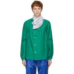 Kiko Kostadinov Green and Grey Anthonis Pleated Shirt KKSS21S02-802/L