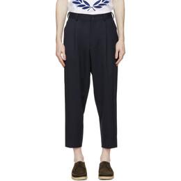 Comme Des Garcons Homme Deux Navy Wool Pleated Trousers DG-P027-051
