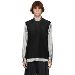 Comme Des Garcons Homme Plus Black and Silver Knit Sleeveless Sweater PG-N003-051