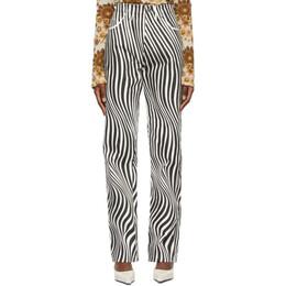 Kwaidan Editions Black and White Zebra Jeans SS21WP044W_DM