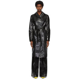 Kwaidan Editions Black Rubberized Belted Coat SS21WC041W_RC