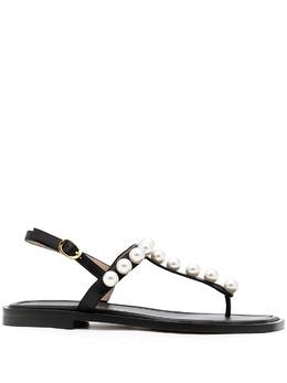 Stuart Weitzman декорированные сандалии Goldie S4576BLK