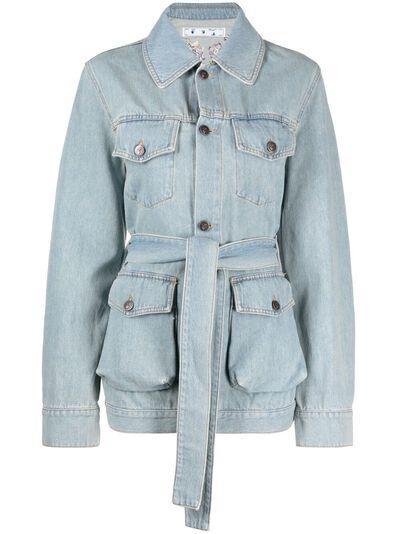 Off-White джинсовое пальто с цветочной вышивкой OWYE023S21DEN0030584 - 1