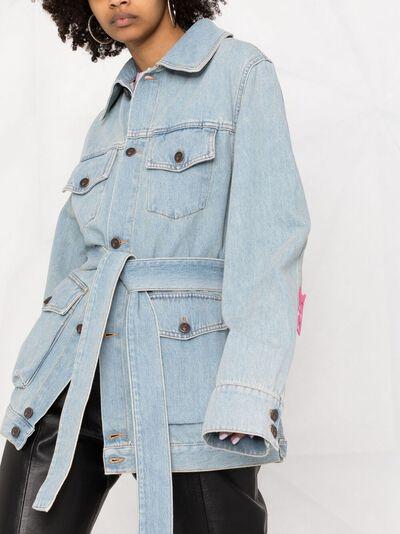 Off-White джинсовое пальто с цветочной вышивкой OWYE023S21DEN0030584 - 5