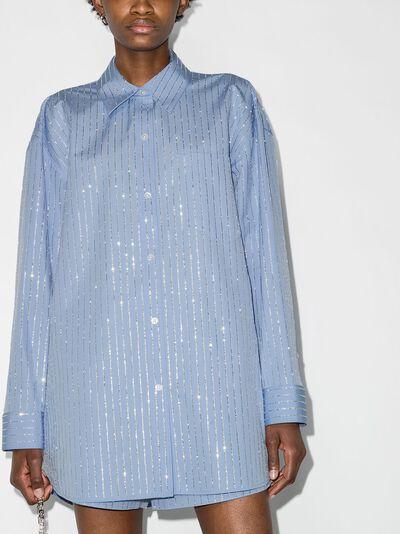Alexander Wang рубашка с длинными рукавами и кристаллами 1WC2211421 - 2