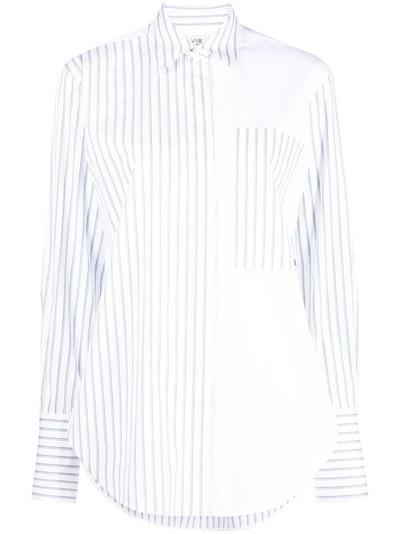 Victoria, Victoria Beckham рубашка в полоску со вставками 2221WSH002688A - 1
