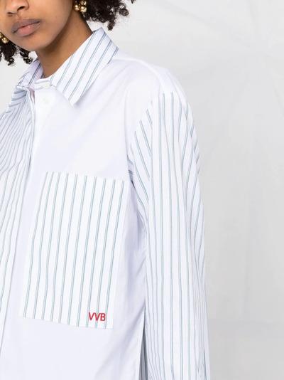 Victoria, Victoria Beckham рубашка в полоску со вставками 2221WSH002688A - 5