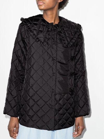 Ganni стеганая куртка с воротником Питер Пэн F5812RecycledRipstopQuilt - 2