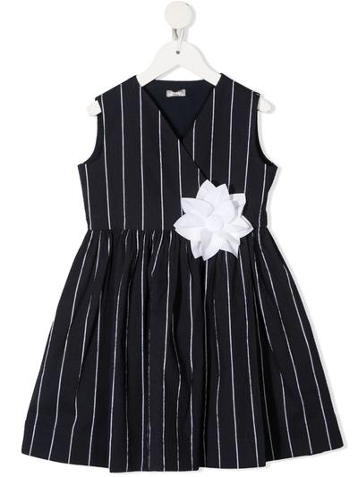 Il Gufo платье в тонкую полоску с цветочным узором P21VA267C1067 - 1