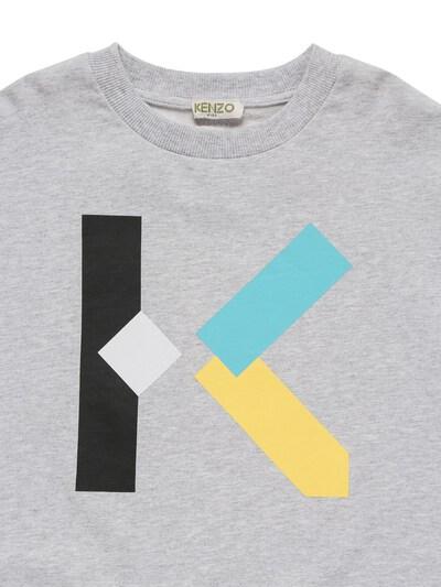 Хлопковый Свитшот С Принтом Логотипа Kenzo Kids 73I6TC016-QTQx0 - 2