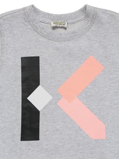 Хлопковый Свитшот С Принтом Логотипа Kenzo Kids 73I6TB034-QTQx0 - 2