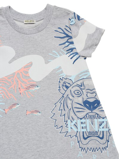 Хлопковое Платье С Принтом Kenzo Kids 73I6TB046-QTQx0 - 2