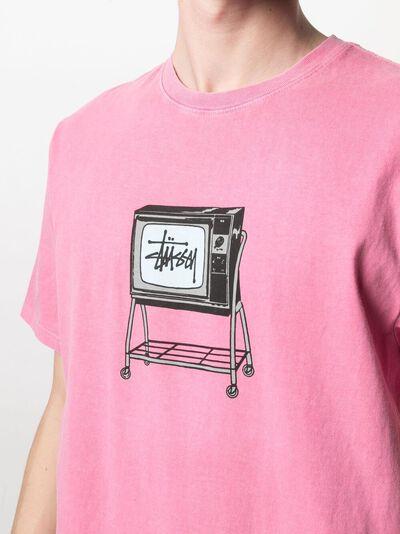 Stussy футболка Rolling TV с графичным принтом 1904672 - 5