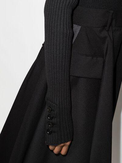 Sacai платье миди со вставками в рубчик и V-образным вырезом 2105529 - 5
