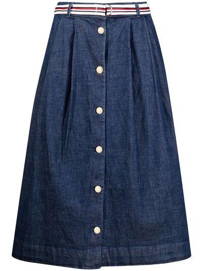 Tommy Hilfiger джинсовая юбка миди на пуговицах WW0WW30312 - 1