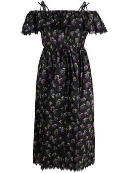 MSGM платье с открытыми плечами и принтом 3042MDA104217353