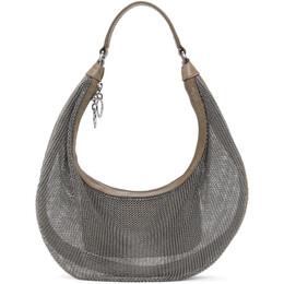 Staud Silver and Taupe Chainmail Sasha Bag 310-9369-RGCH