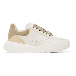Alexander McQueen White and Brown Court Trainer Sneakers 657567WIAA1