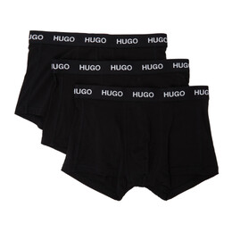 Hugo Three-Pack Black Logo Boxer Briefs 50435463