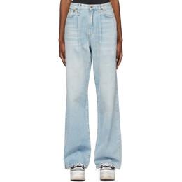 R13 Blue Damon Pleated Wide Leg Jeans R13W3147-897A