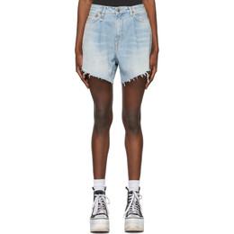R13 Blue Damon Pleated Shorts R13W3148-897B