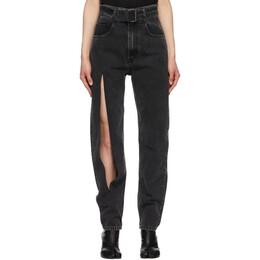 Maison Margiela SSENSE Exclusive Black Belted Thigh Slit Jeans S51LA0130 S30496