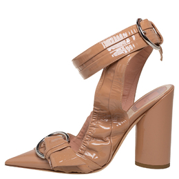 Dior Beige Patent Leather Ankle Wrap Buckle Strap Sandals Size 36 409885