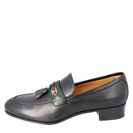 Gucci Black Leather Web Interlocking G Slip On Loafers Size UK 10 EU 44 408786