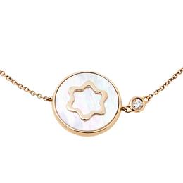 Montblanc Signet Mother of Pearl Diamond 18K Rose Gold Bracelet 408698