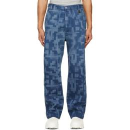 Xander Zhou Blue Pattern Jeans P13-2